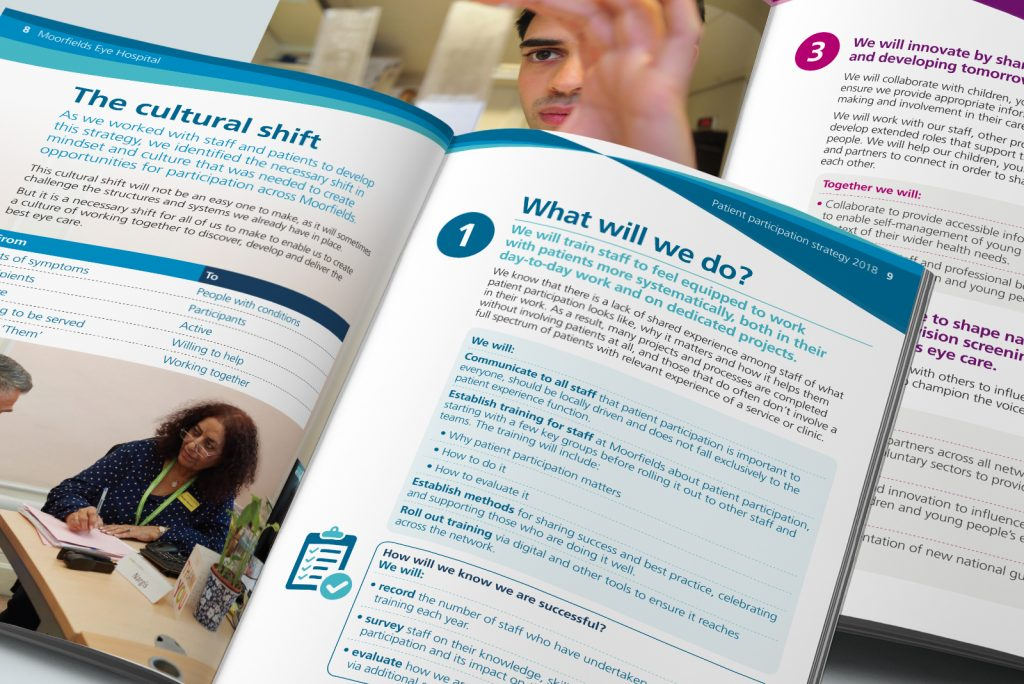 Spreads from Moorfields Eye Hospital Patient participation strategy 2017-2022