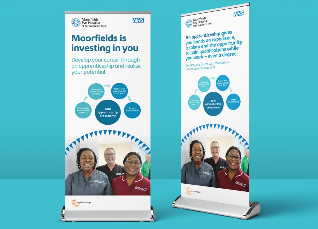 Moorfields Eye Hospital Apprenticeships exhibition stand